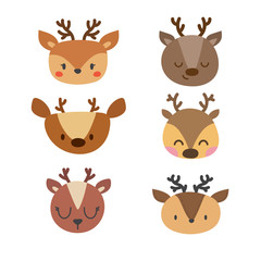 Set of cute deers. Funny doodle animals. Little fawn in cartoon style