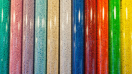 colorful candies in plastic tubes