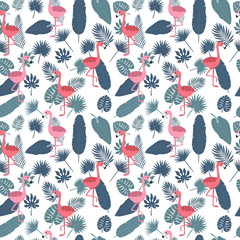 Tropical seamless pattern with pink flamingos and palm leaves. Stylish background