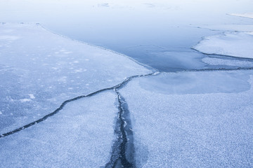 Winter lake with ice chunks