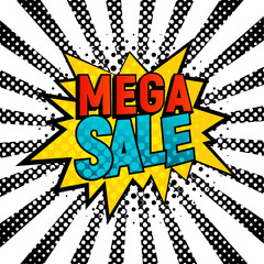 Mega Sale comic style vector card. Cartoon star with Mega Sale text on black and white rays background. Pop art style, shoping and sale retro card