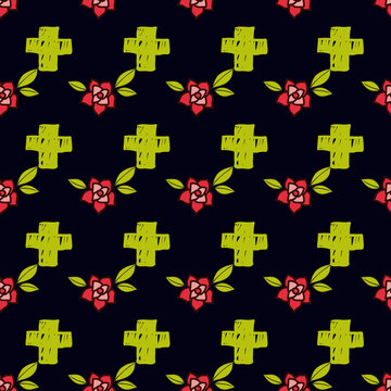 Crosses and flowers in an old-style tattoo. The day of the Dead. Seamless pattern on a black background. Texture for scrapbooking, wrapping paper, textiles, web page, surface design, fashion
