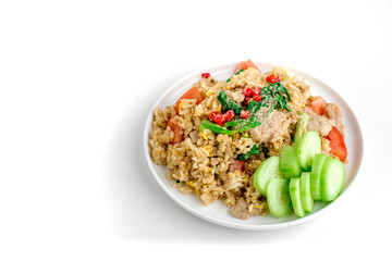 Thai Fried Rice with Isolated White Background for Copy Space, Street Food for Rush Hour, Image for Food Advertise Concept