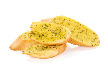garlic breads on white background