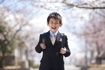 Elementary school boy standing under cherry blossoms