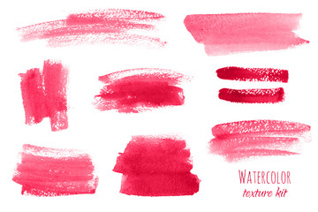 Set of red, pink watercolor hand painted texture backgrounds, isolated. Abstract collection, acrylic dry brush strokes, stains, spots, blots, lines. Creative beauty makeup frame, illustration, drawing