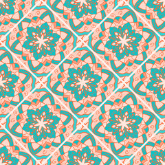 Seamless color floral mandala pattern