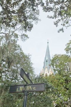 Street Sign Cathedral St John Baptist Savannah GA