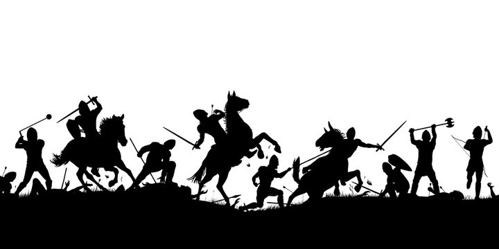Battle scene silhouette