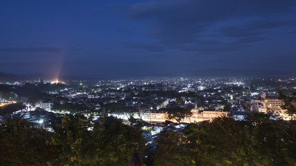 Maesai city northest city in thailand Night cityscape. Northest city for border trade to tachileik city of myanmar ( chiangrai, thailand )