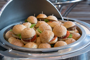 different burgers in dish