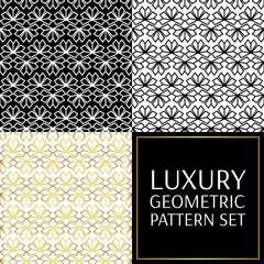 Set of modern pattern vector seamless. Floral geometric luxury collection background. Flower abstract ornament.