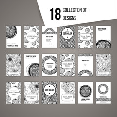 Big set of cards with intricate black and white patterns