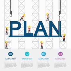 Crane and plan building. Infographic Template. Vector Illustration.