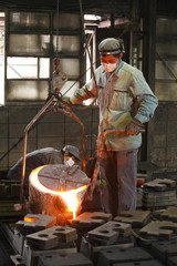 Two men working in foundry