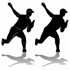 silhouette of a baseball player, vector draw. vector illustration