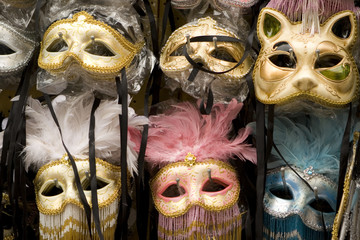 Masks from the Venetian Carnival in Venice Italy