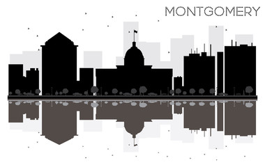 Montgomery City skyline black and white silhouette with reflections.