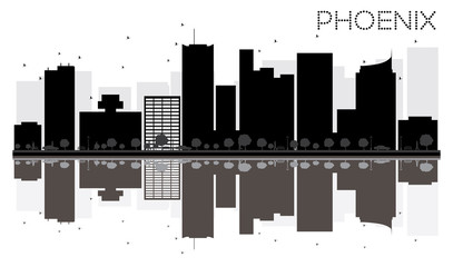 Phoenix City skyline black and white silhouette with reflections.