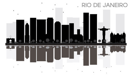 Rio de Janeiro City skyline black and white silhouette with reflections.
