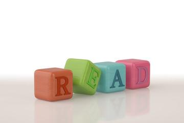 Read alphabet Wood block.3D illustration.