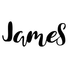 Male name - James. Lettering design. Handwritten typography. Vector