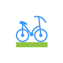 Vector icon or illustration showing bicycle in material design style