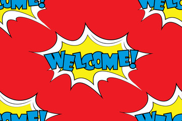 Welcome!- Comic sound effects in pop art style