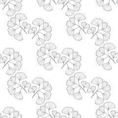 Ginkgo Biloba plant, leaf, branch. Seamless pattern, medicinal plant. Hand drawn sketch illustration. Ingredient for hair and body care cream, lotion, treatment.