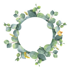 Watercolor wreath with silver dollar eucalyptus leaves and branches.