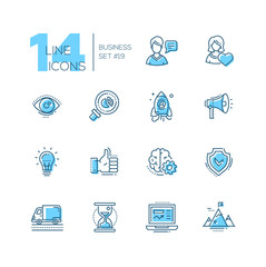 Business - coloured modern single line icons set
