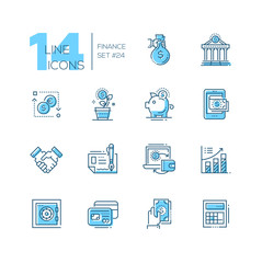 Finance - coloured modern single line icons set