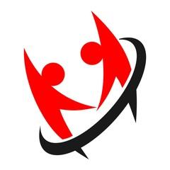 couple in love. swoosh person logo vector. team work.
