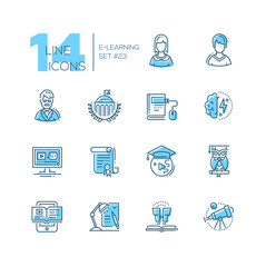 eLearning- coloured modern single line icons set