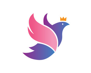 Modern Elegant Dove And Crown Logo