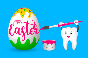Cute cartoon tooth painting Easter egg by paintbrush. Happy Easter Day concept. Illustration isolated on white background.