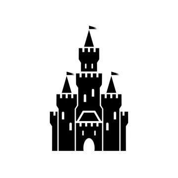castle symbol icon with flags on white background