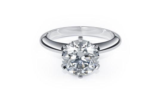 Diamond Ring on the white background.