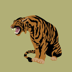 Tiger vector illustration style Flat
