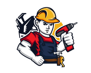 Modern Occupation People Cartoon Logo - Handyman