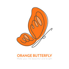 Continuous line butterfly with orange pattern on wings. Vector illustration.