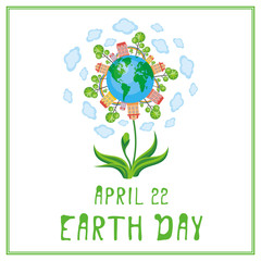 Earth day. A poster with a picture of the planet, cities,  trees, rainbows and flowers.