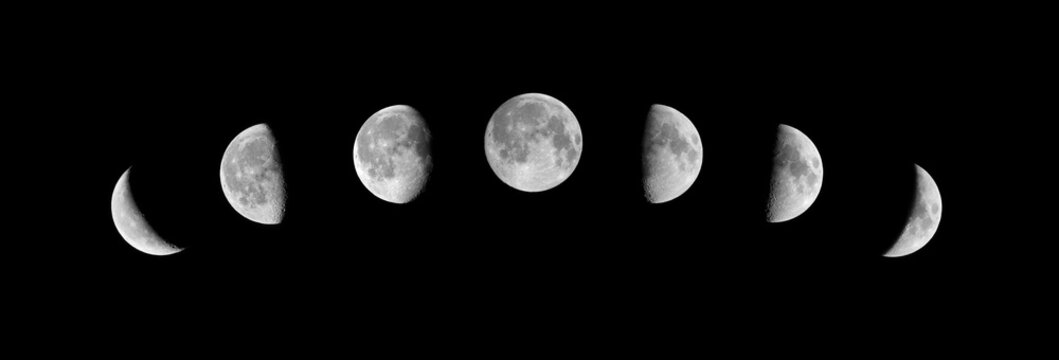 Phases of the moon on a black background