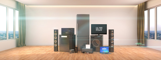 Home appliances. Gas cooker, tv cinema, refrigerator, microwave, laptop and washing machine. 3d illustration