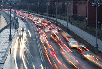 The busy traffic in the city, Moscow, Russia