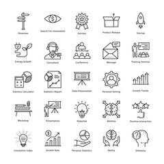 Business Management and Growth Vector Line Icons 3