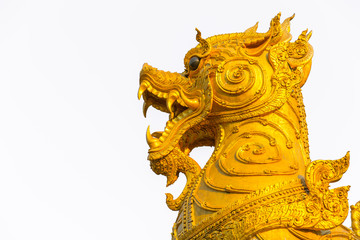 closeup head of Singha or antique lion art temple decoration in Thailand.