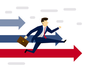 Modern Creative Business Strategy Illustration Concept - Leading The Business Race