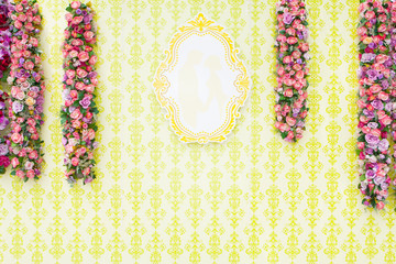 Beautiful wedding backdrop or postcard background with flower decoration.
