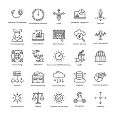 Business Management and Growth Vector Line Icons 28
